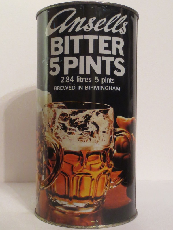 Ansells BITTER 5 PINTS 2.84 litres 5 pints BREWED IN BIRMINGHAM (284cl)
